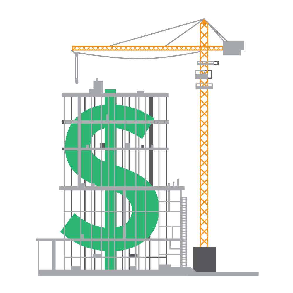 construction crane with dollar sign