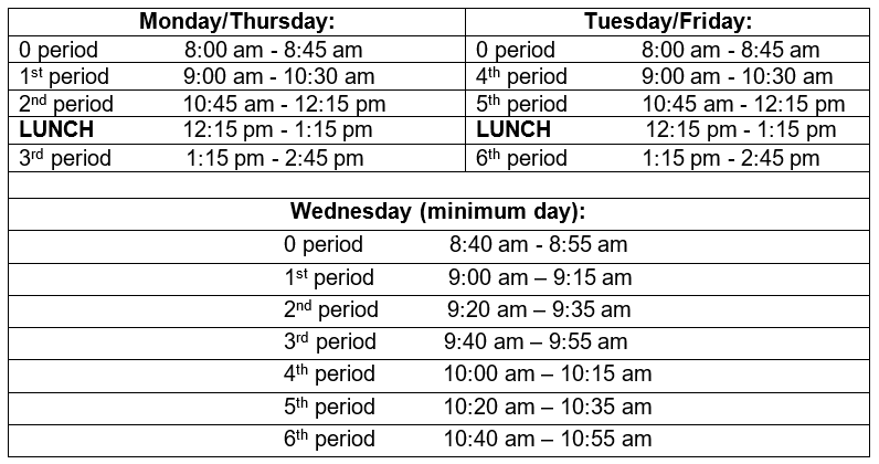 Distance Learning Schedule 2020-21