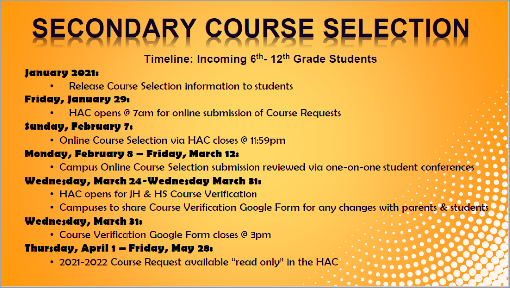 secondary course selection