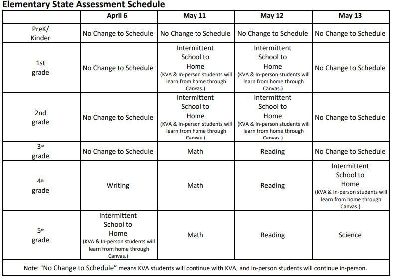 elementary testing schedule