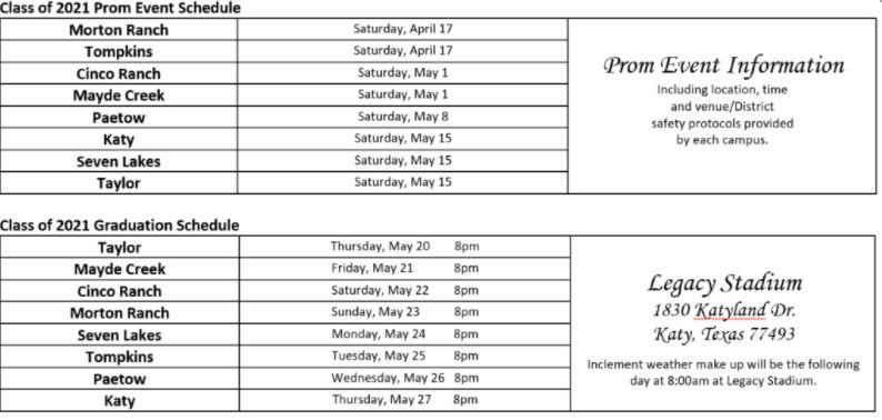 prom and graduation schedule