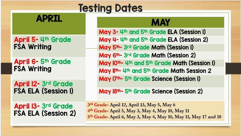 FSA Testing Dates
