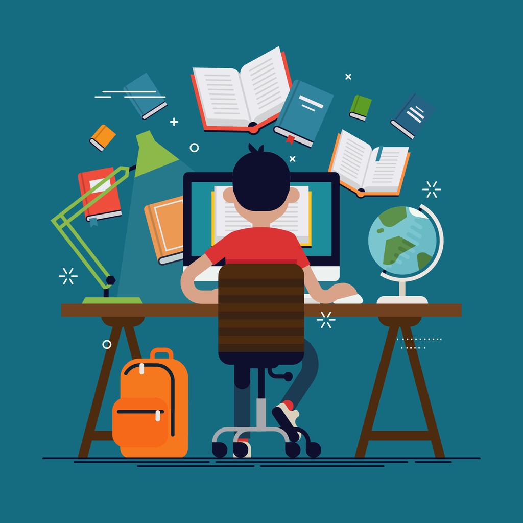 student working remotely illustration