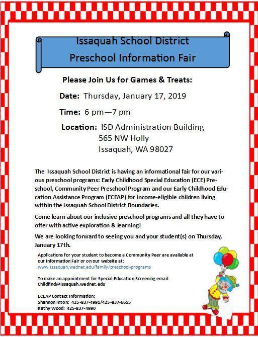 flyer from district - preschool fair