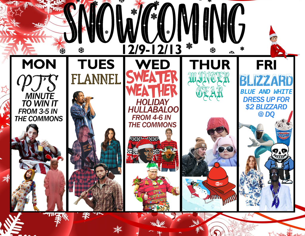 snowcoming week calendar