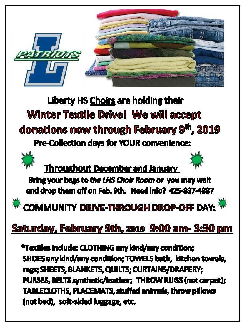 LHS Choir Textile Drive Flyer