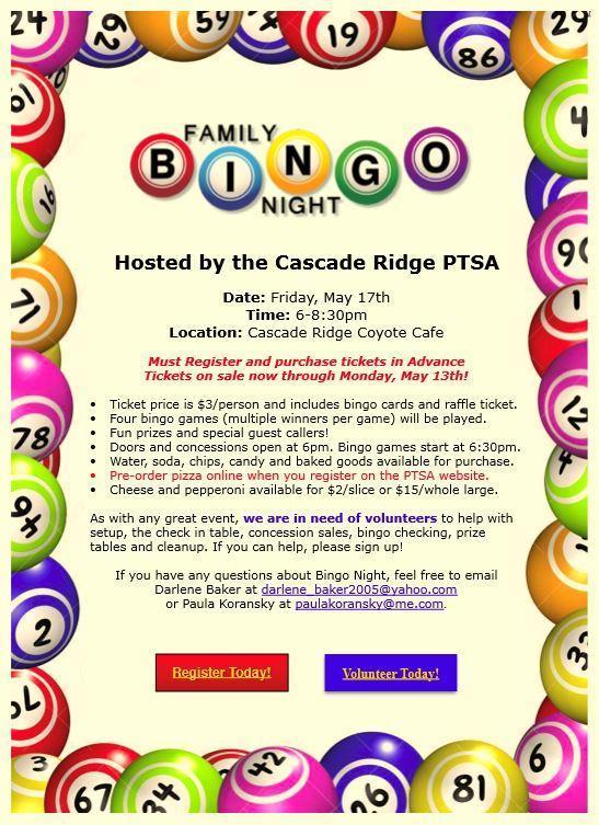 advertisement for bingo night