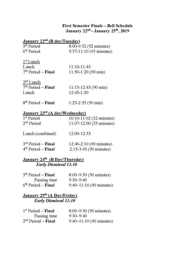 !st Semester Finals Schedule doc