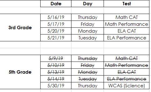 updated testing calendar