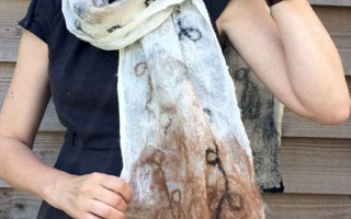 Image showing a sample result of the craft class 'Nuno Felted Alpaca Scarf'