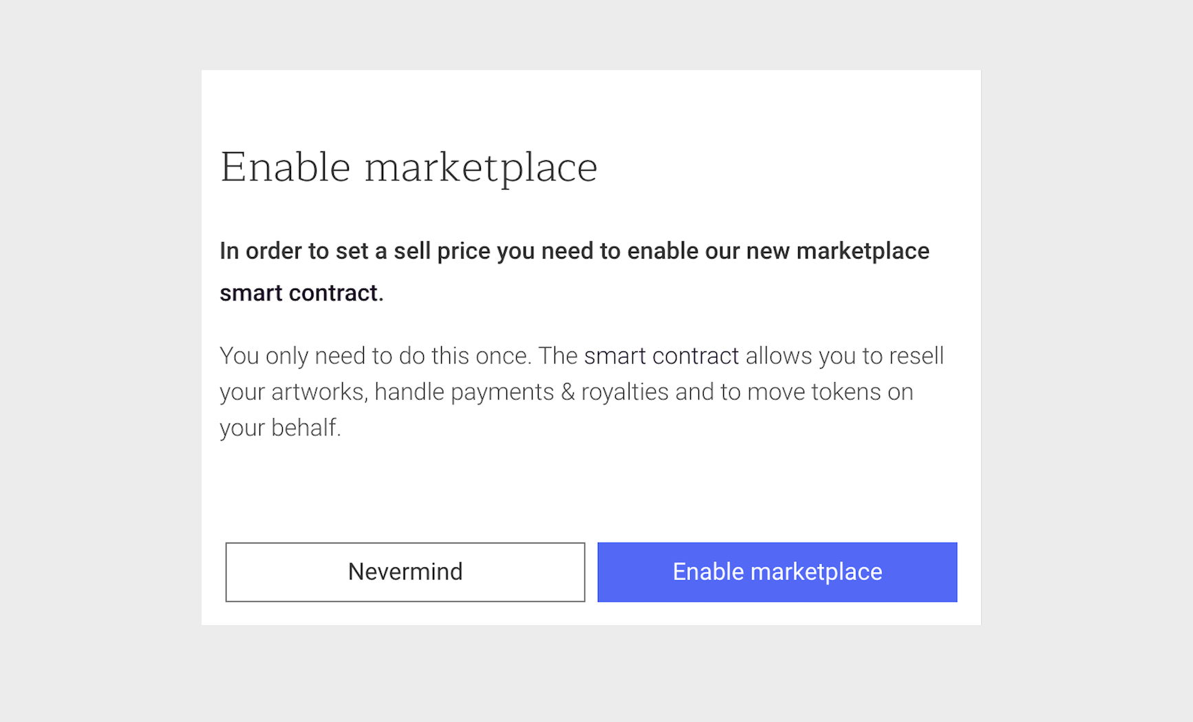 enabling marketplace smart contract