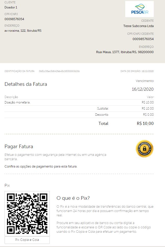 captura de tela de uma fatura com pagamento pix