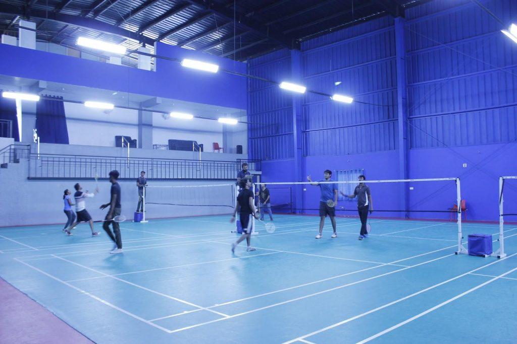 An indoor badminton court