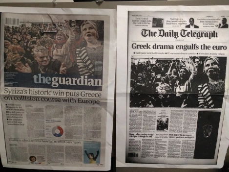 Images of austerity news headlines
