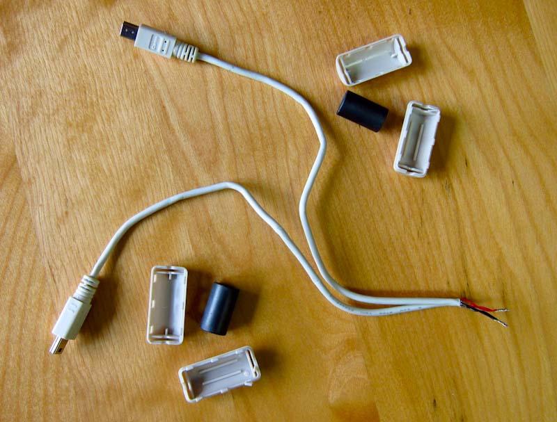 lab remove a usb cable ferrite bead