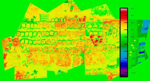 Imagen NDVI de un huerto urbano con cámara Mobius para evaluar la salud de las plantas.