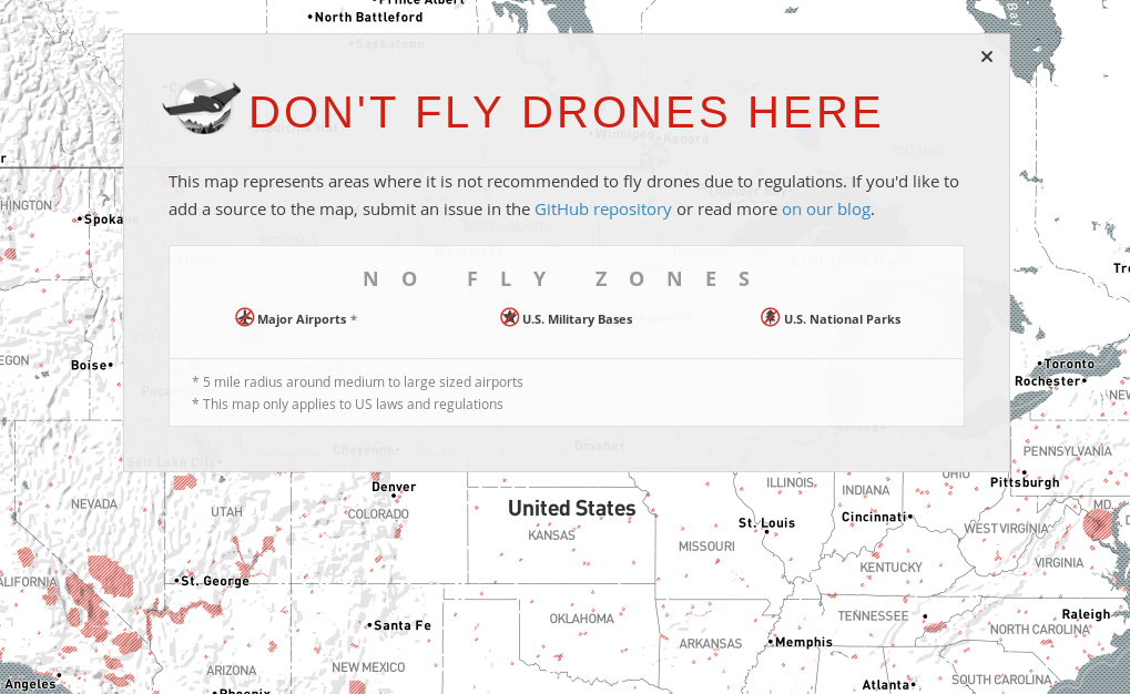 Public Lab Map Showing Where You Can And Cant Fly Drones - Us airspace map drone