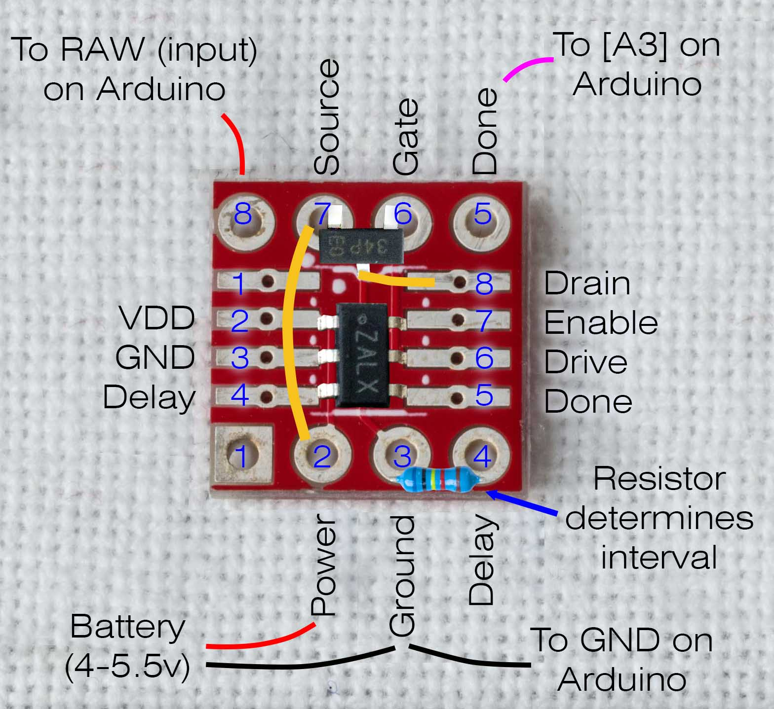 Public Lab How To Make A Low Power Timer Diy Sot 23 Adapter Figure 1 Build Diagram For Log Long Solder Pads 8 Connect With Pcb Copper Traces Pin Holes Respectively Only Number Is Not Used