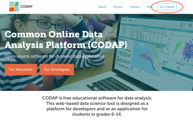 "CODAP Home Page with ""Try CODAP"" Button Highlighted"