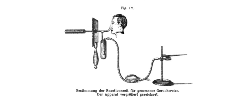 A set up for measuring time taken to detect a smell. Not sure where the big pointy thing goes to… From *Physiologie des Geruchs*.