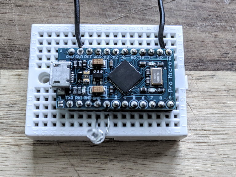 Breadboard with LED attached to Arduino Micro