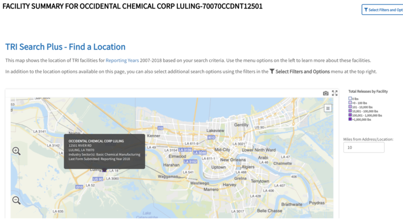 Facility summary for Occidental Chemical Corp showing location on a map