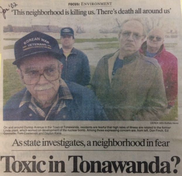 "Buffalo News article, ""Toxic in Tonawanda?"" Image courtesy of Citizen Science Community Resources"