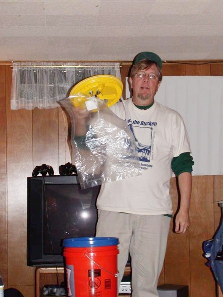 "Denny Larson with the ""Bucket"", 2003 Image courtesy of Citizen Science Community Resources"