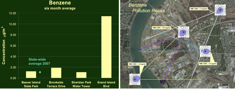 Benzene pollution roses, image courtesy of New York State Department of Environmental Conservation