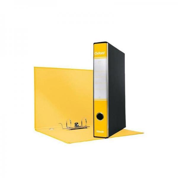 Registratore con custodia Esselte G82 Oxford commerciale 29,5x32 cm - dorso 5 cm giallo - 390782090