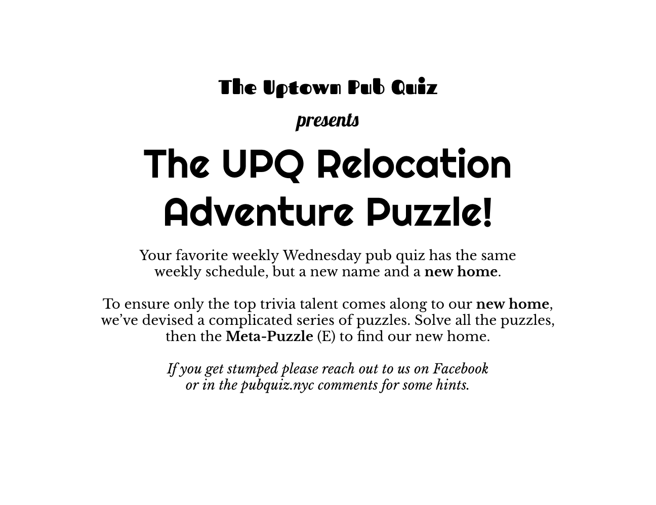 Uptown Pub Quiz Relocation Adventure Puzzle!