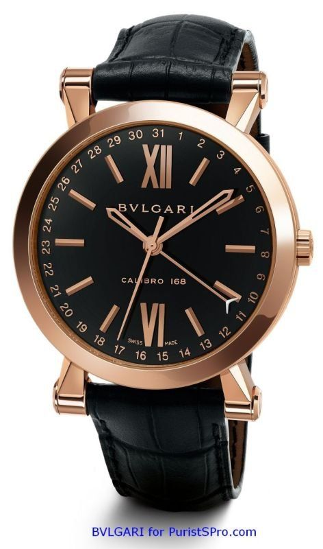 Sotirio Bulgari, 43mm 18 ct pink gold case, alligator strap
