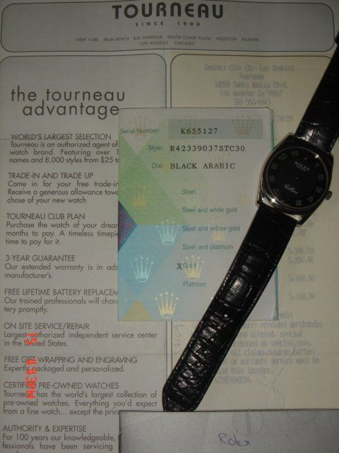 paper and receipt from tourneau it very nice and keep excellent timing serious buyer please e mail me at email address suppressed for privacy thanks