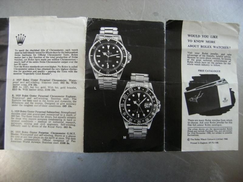 Rolex price list 1968