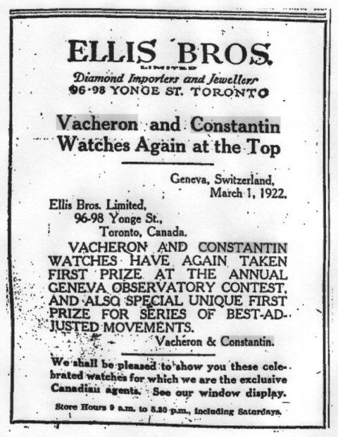 Toronto Globe & Mail 1922