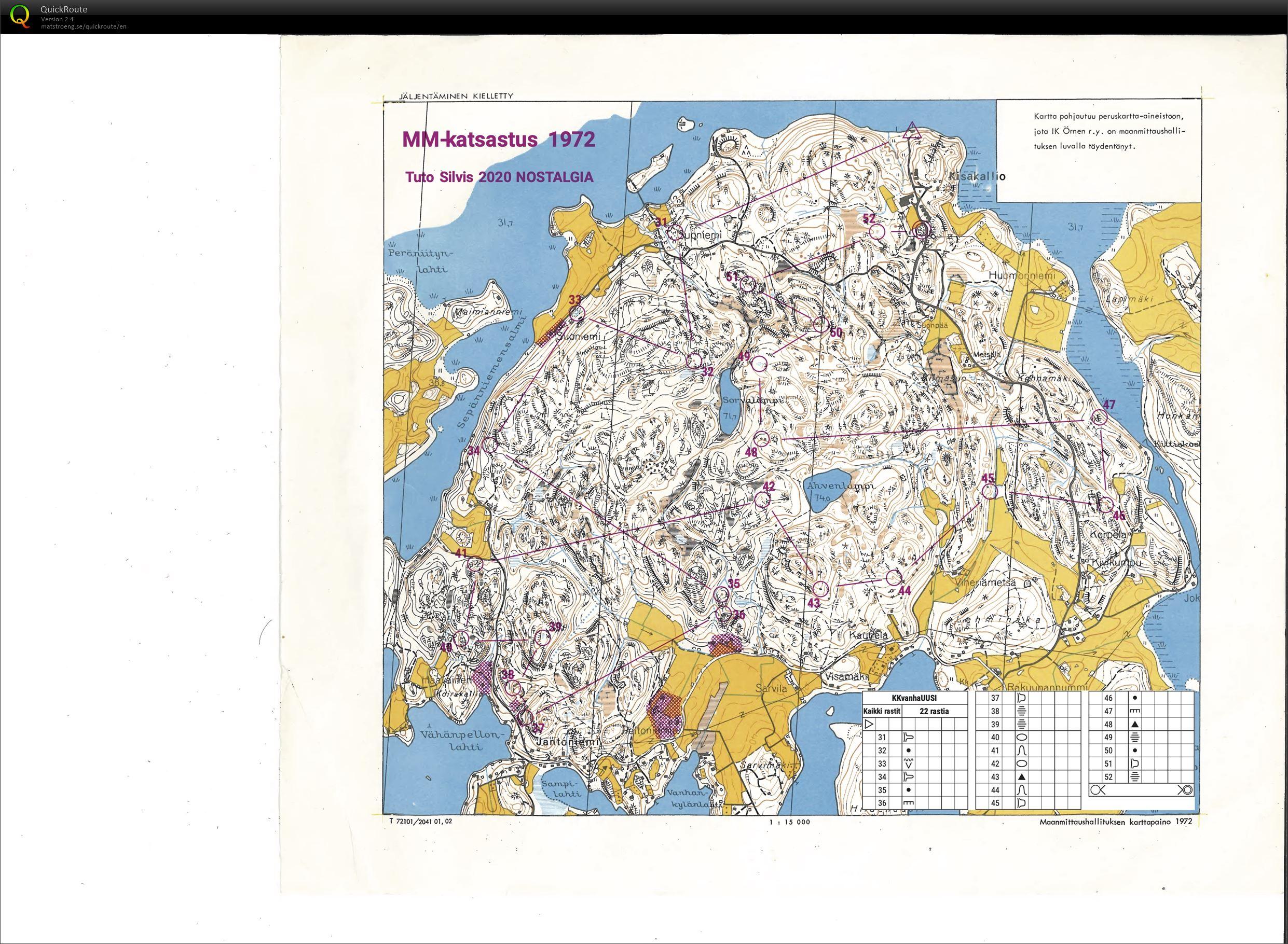 Tuto Silvis Nostalgia Kisakallio - MM-katsastus 1972 -kartta (23/05/2020)