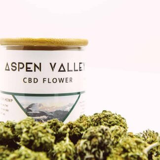 A jar of raw, pure Aspen Valley Hemp flower