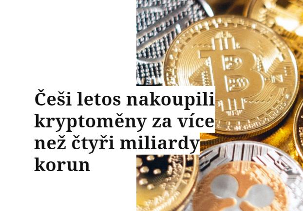 Češi letos nakoupili kryptoměny za více než čtyři miliardy korun