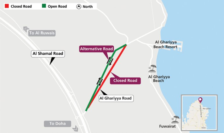 Traffic diversion on Al Ghariyya Street