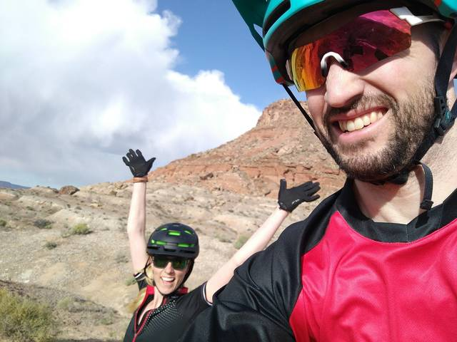 Chris and Melissa mountain biking