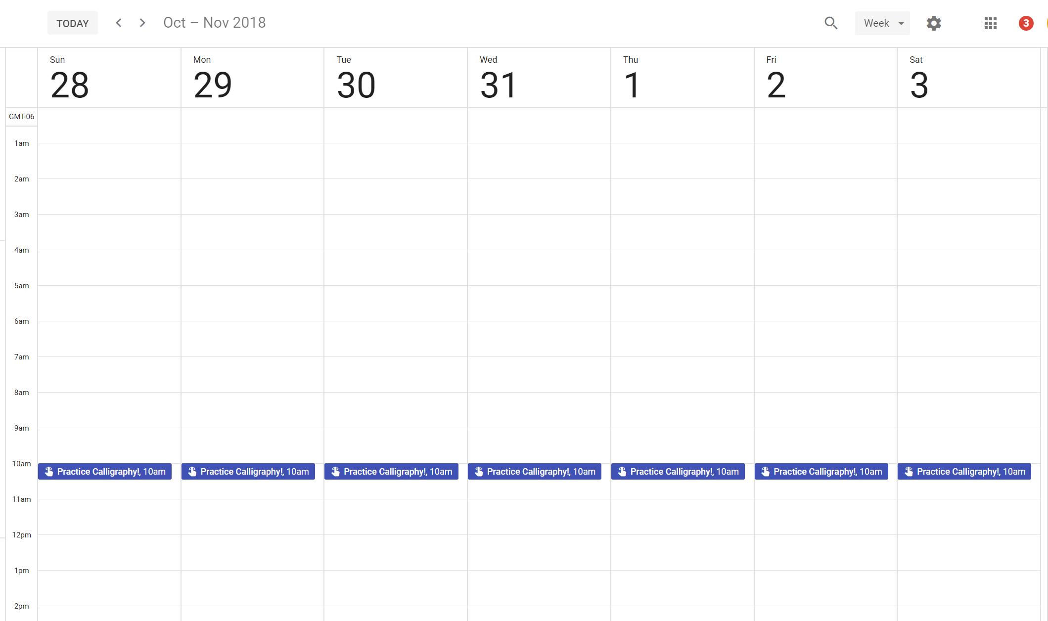 practice schedule