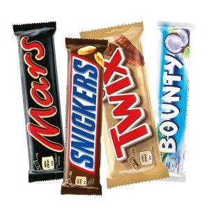 Mars, Twix, Snickers ja Bounty 4 kpl 2,50