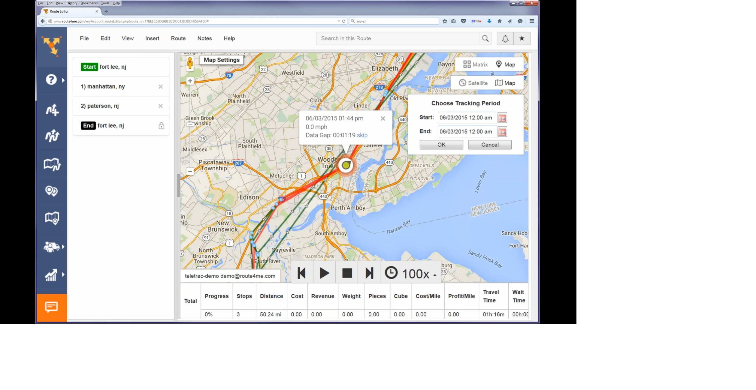 Route4Me Tracking Playback