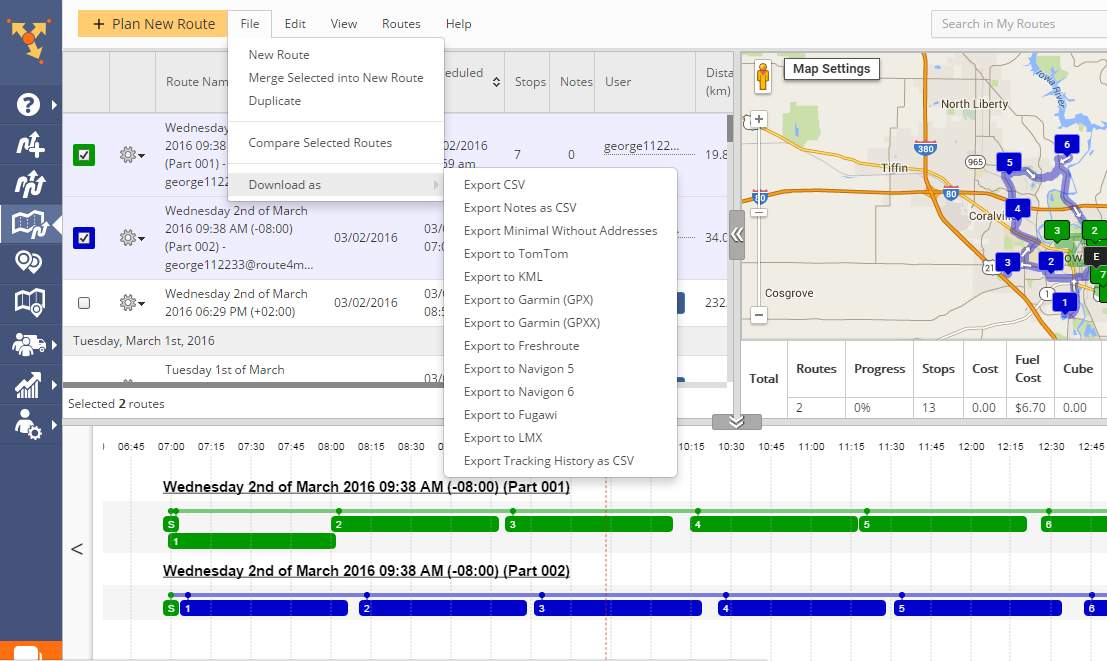 GPS file format selection with Route4Me