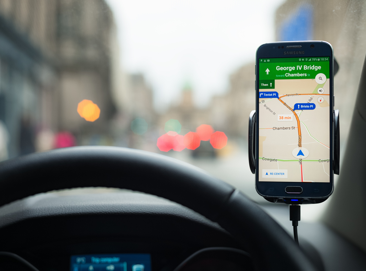 Mobile route app displaying driving directions