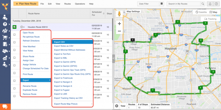 Detailed Route Data Export