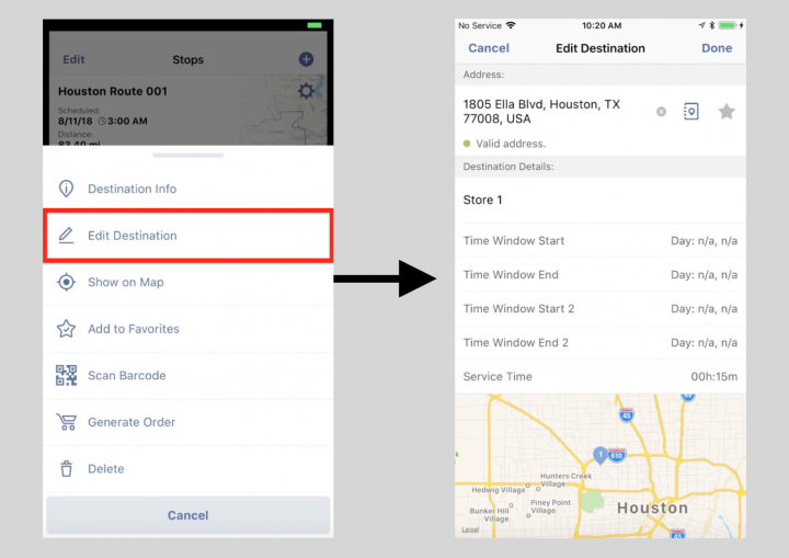 Managing Your Route Stops on an iPhone