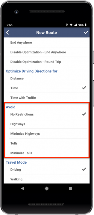 Planning a New Route on Your Android Device