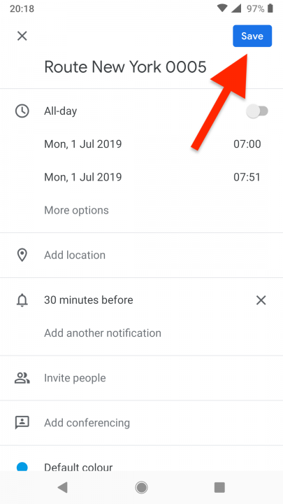 Adding Routes to Third-Party Calendars on your Android Device
