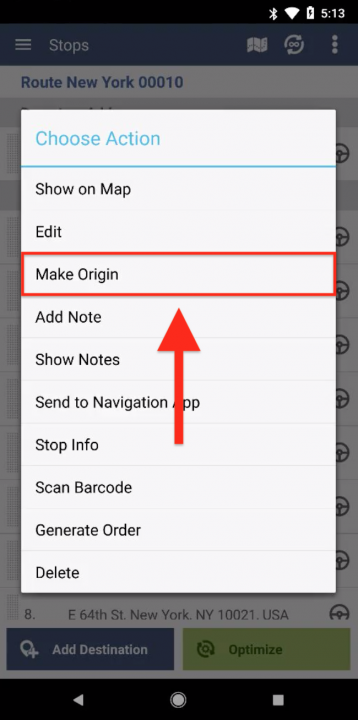 Managing Stops on Your Routes Using an Android Device